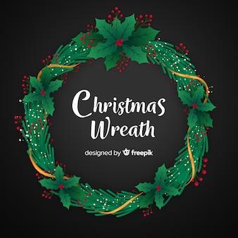Christmas wreath flat design wallpaper