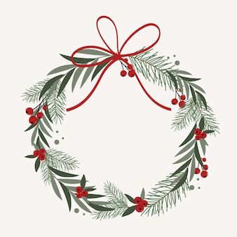 Christmas wreath in flat design