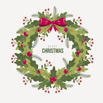 Christmas wreath in flat design