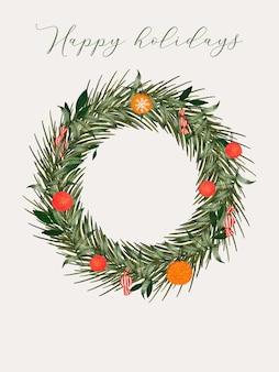 Рождественский венок для приглашения баннер приветствие вечеринка распродажа плакат флаер в социальных сетях