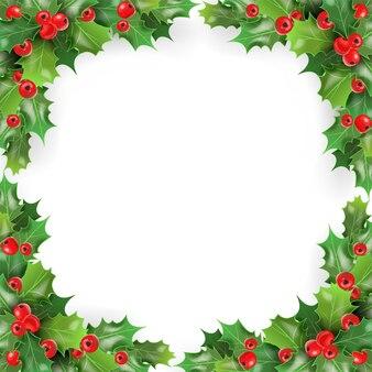 クリスマスリースフレーム Premiumベクター
