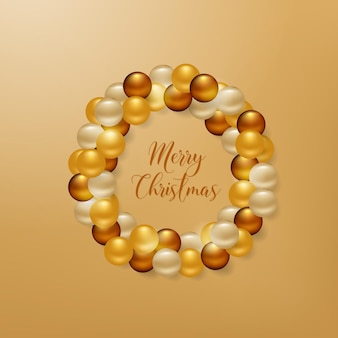 Christmas wreath from golden balls background for your greetings card, flyers, invitation, brochure, posters, banners, calendar