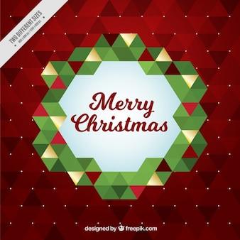 Christmas wreath geometric background