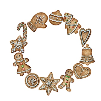 Christmas wreath gingerbread cookies greeting card poster, banner concept.
