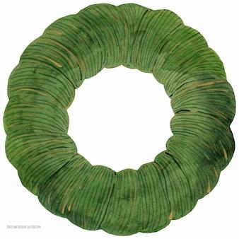 Рождественский венок зеленое базовое кольцо, прорисованная акварель