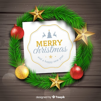 Christmas wreath and greeting card
