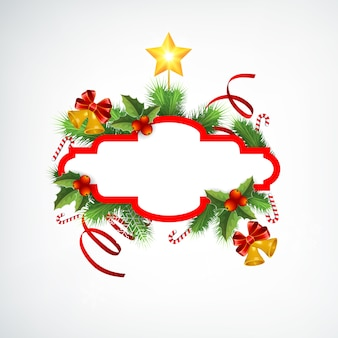 空白のフレームモミの枝リボンキャンディージングルベルと星とクリスマスリース挨拶テンプレート