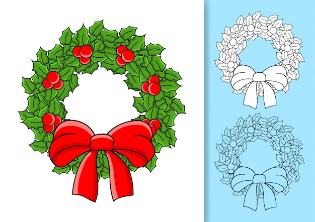 Christmas wreath of holly leaves and berries decorated with a bow.