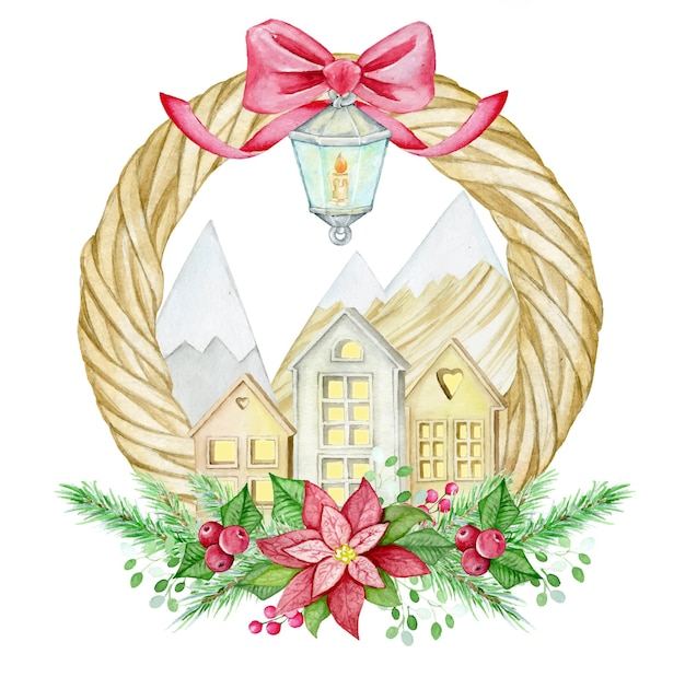 Christmas wreath, houses, mountains, lantern, poinsettia, coniferous branches. watercolor concept.