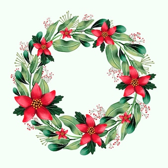 Christmas wreath illustration with watercolor flowers