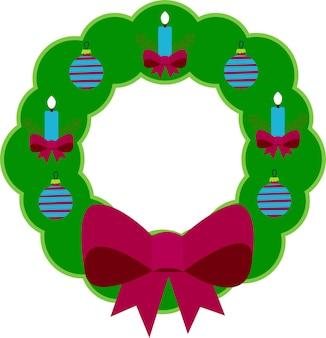 Рождественский венок в плоском стиле на белом фоне
