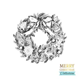 Рождественский венок в винтажном стиле