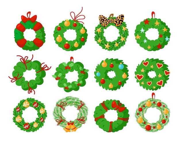 Christmas wreath isolated design elements, green pine wreath with festive christmas or new year decorations