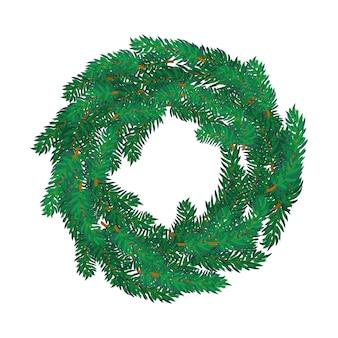 Christmas wreath isolated on white illustration