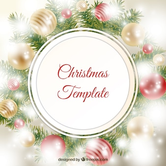 Christmas wreath label on baubles background