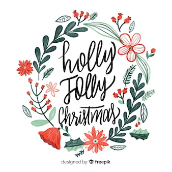 Christmas wreath lettering with natural elements