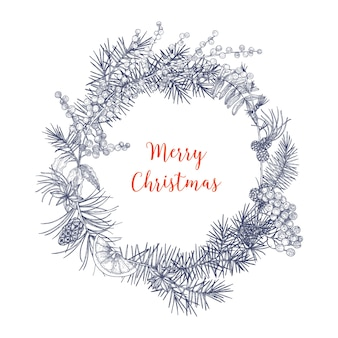 Christmas wreath made of branches and cones of fir and spruce trees, rowan berries, orange slices, holly leaves, star anise hand drawn in monochrome colors with contour lines