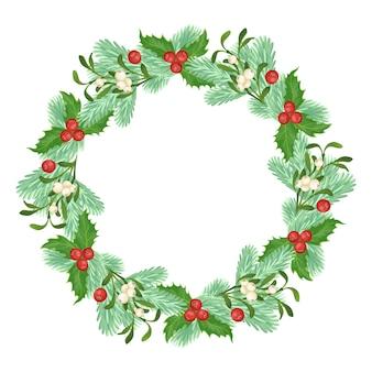 トウヒ、ヤドリギ、ヒイラギの枝で作られたクリスマスリース。