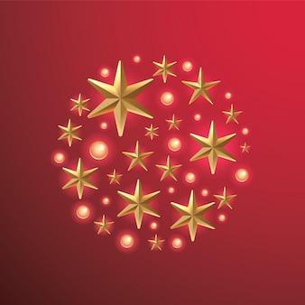 빨간색 배경 세련된 크리스마스 인사말 카드에 컷아웃 금박 별으로 만든 크리스마스 화환