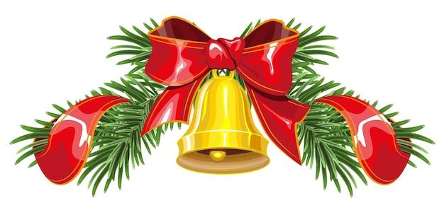 鐘と赤いリボンが付いたモミの枝で作られたクリスマスリース。孤立したイラスト