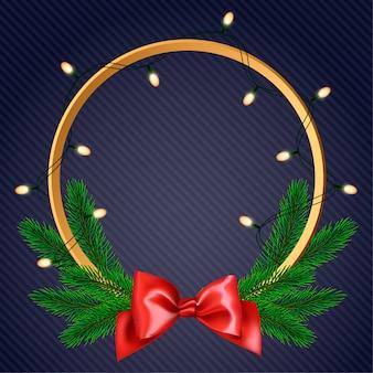 クリスマスリースは、花輪で飾られた松の枝を作った