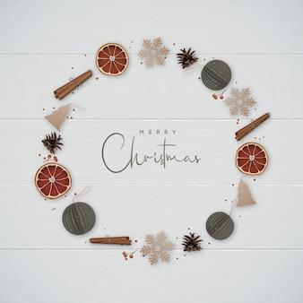 Christmas wreath in minimalist style