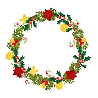 Christmas wreath of mistletoe christmas star flower fir tree for banners cards invitations