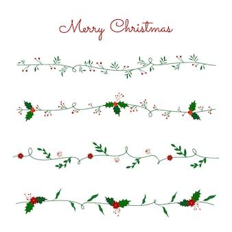 Christmas wreath mistletoe and poinsettia collection