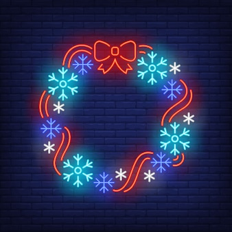 Christmas wreath in neon style