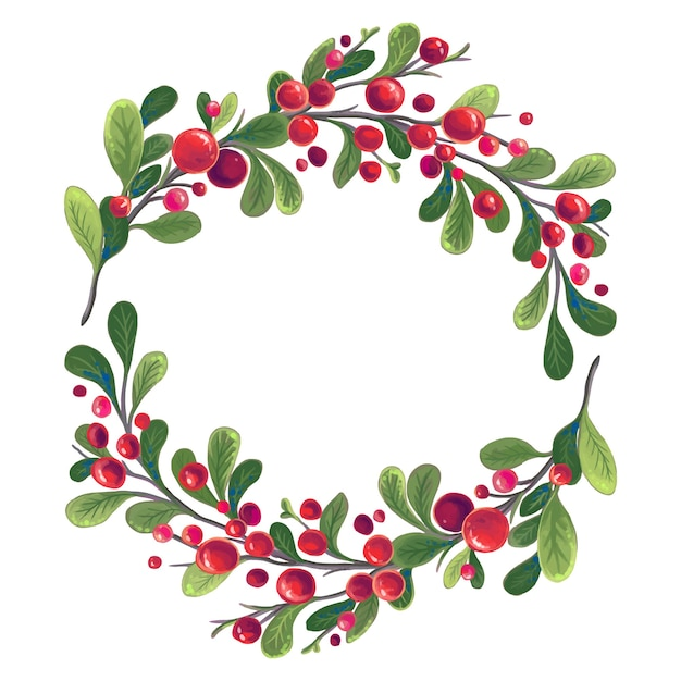 붉은 열매와 녹색 잎 지점의 크리스마스 화 환