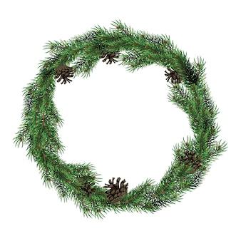 コーンとモミの枝のクリスマスの花輪