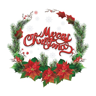 Рождественский венок из красной пуансеттии и листьев