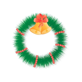 Рождественский венок на двери с бусами и колокольчиками.
