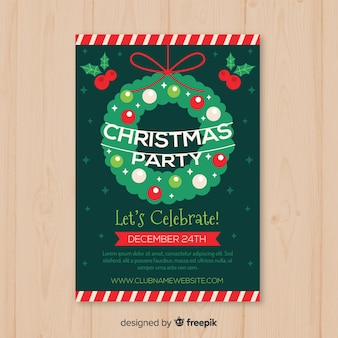 Christmas wreath party poster template