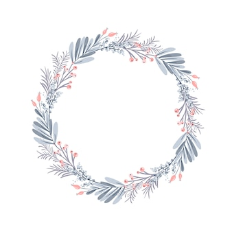 Christmas wreath and red berries on evergreen branches