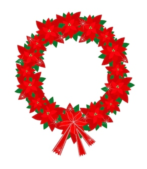 Christmas wreath of red poinsettia flowers and bow