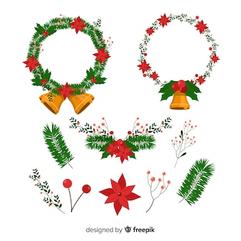 Christmas wreath set with winter floral elements