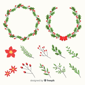 Christmas wreath set with winter floral