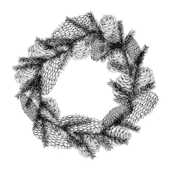 Christmas wreath in the style of a sketch of a christmas tree and cones isolated on white background.