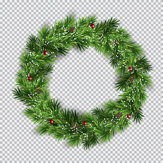 Christmas wreath on transparent background