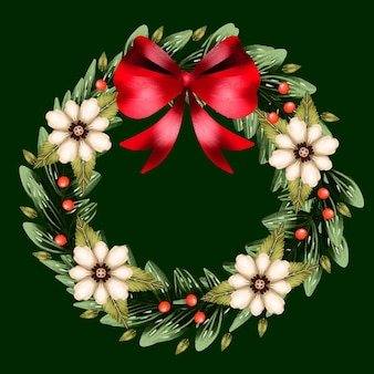 Christmas wreath watercolor illustration with flowers and bow