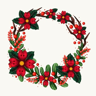 花とクリスマスリース水彩イラスト