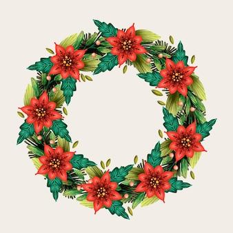 꽃과 함께 크리스마스 화 환 수채화 그림