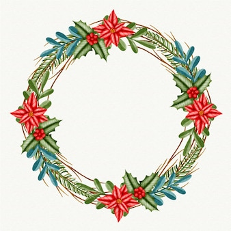 Рождественский венок акварельные иллюстрации