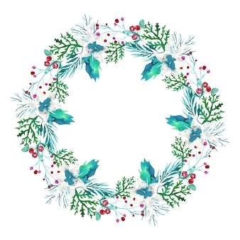 Christmas wreath in watercolor