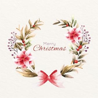 Christmas wreath in watercolor