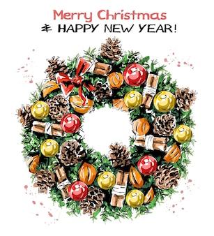 Рождественский венок с шариками, шишками и корицей