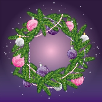 Christmas wreath with balls. new year's and christmas.