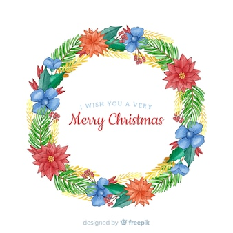 Christmas wreath with beautiful blue flowers