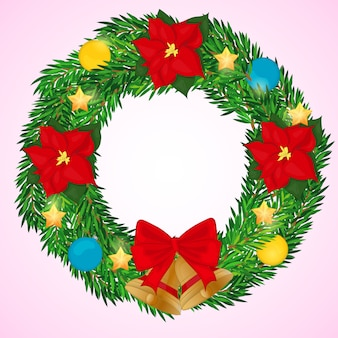 Christmas wreath with bells, poinsettia, and balls in cartoon style. vector illustration.